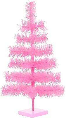 """18"""" Pink Christmas Tree Table-Top Centerpiece Small Barbie Pink Tinsel Branch We"""