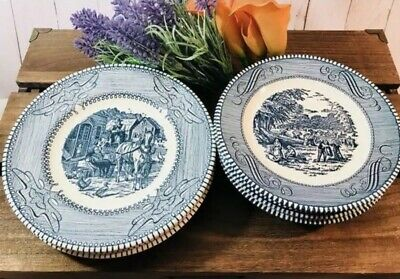 Set of 5 Royal Currier & Ives Bread/Butter Plates - Blue And White