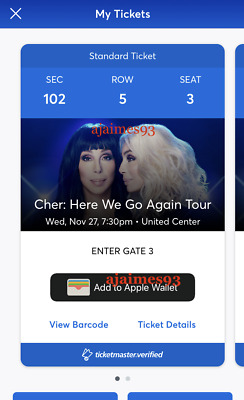 2 Tickets Cher:Here We Go Again Tour @ Chicago United Center 11/27 Sec 102 Row 5