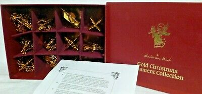 Set of 12 Danbury Mint 1987 Gold Christmas Ornaments with Box