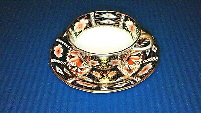 Royal Crown Derby (2451) Imari Floral Tea Cup & Saucer, Red & Gold