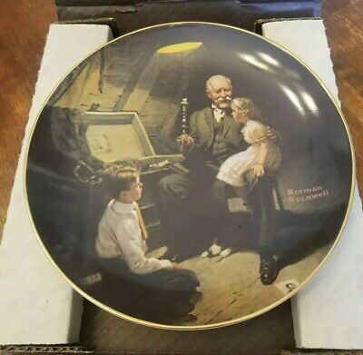 Norman Rockwell Plate, Grandpa's Treasure Chest Limited Edition Numbered