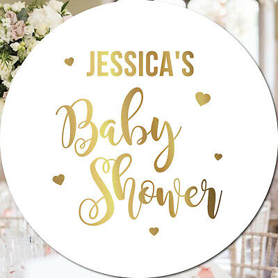 24 Personalised Baby Shower GOLD FOIL Custom Stickers Baby Stickers REAL foil