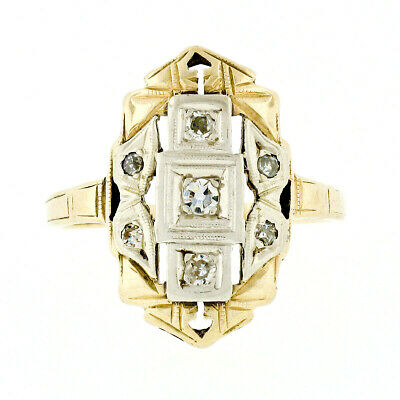 Antique Art Deco Petite RARE Two Tone 14K Gold & Diamond Etched Open Dinner Ring