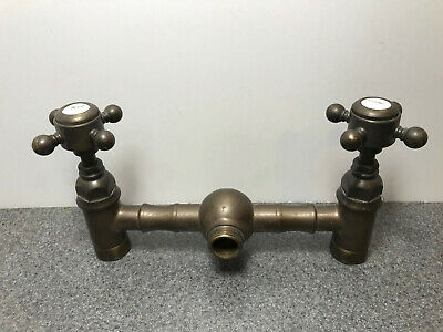 2 Vintage Solid Brass Water Faucet Spigots Porcelain Heads Superb Patina Antique