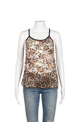 Charlotte Russe Cami Top Size Small Animal Print Sheer Lace Brown Black