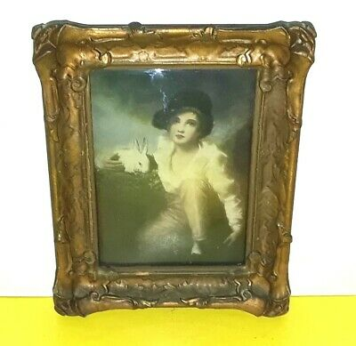 Antique Ornate Victorian Wall Art Square Convex Bubble Glass Picture Wood Frame