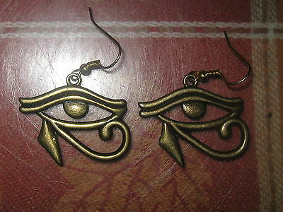 Gold Brass Color Egyptian Egypt Udjat Eye Of Horus Ra 30Mm Metal Charm Earrings