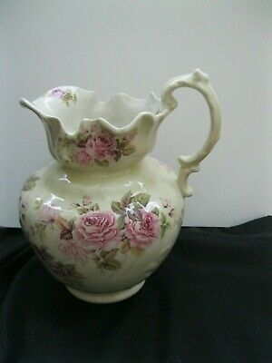 Lovely Antique Ironstone Pottery Cream Water Pitcher, Hand Painted Roses
