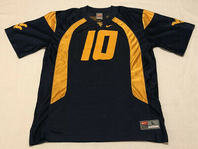 West Virginia Mountaineers Nike Football Jersey #10 Youth Large Home Blue EUC