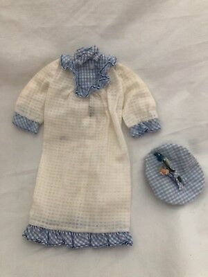 Vintage Francie Doll Fashion Outfit 1253 TUCKERED OUT White Blue Nightgown HAT