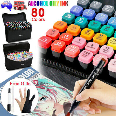 80 Color Marker Pen Set Graphic Art Sketch Twin Point Broad Point Copic Touch