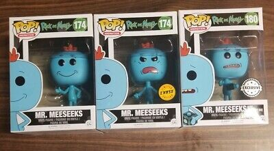 Funko POP! Rick & Morty - Mr. Meeseeks LOT 3 CHASE / COMMON / EXCLUSIVE vaulted