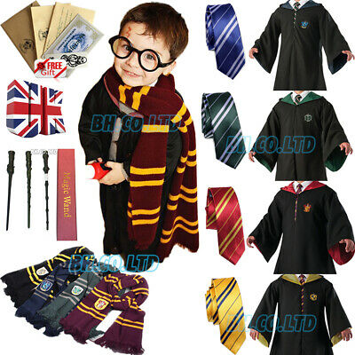 Harry Potter Robe Cape Halloween LED Wand Scarf Cosplay Costume Party Gryffindor