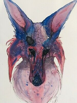 Shattered Fox Drawing / Painting A4 Art Original By Paige FREE POST