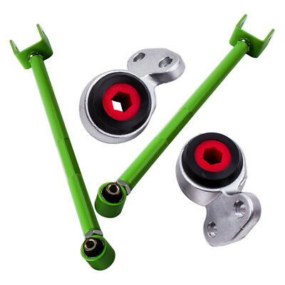 Rear Lower Control Arms Camber Green & Front Control Arm Bushings for BMW E46