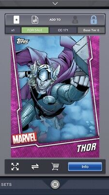 Topps Marvel Collect Tier 6 Pink Wheel Base 100 Card Set With Thor Award Card