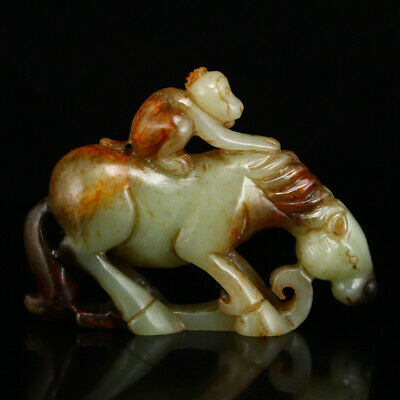 """2"""" Chinese Natural handcarved old hetian jade Horse Monkey statue Decoration"""