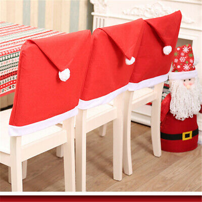 US 2//4//6//8 PCS Christmas Santa Claus Hats Chair Cover Xmas Red Decoration