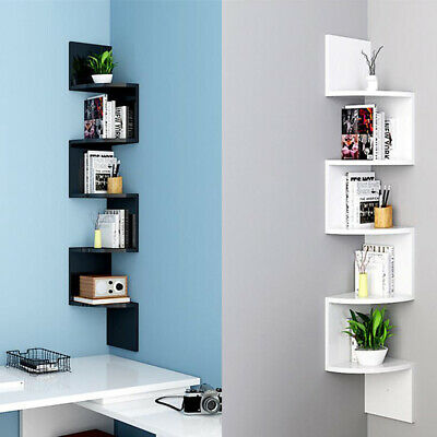 UK Floating Wall Shelves Corner Shelf Storage Display Bookcase Kids Room Decor
