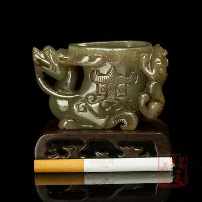 "3"" Chinese Natural handcarved old antique hetian jade dragon taotie beast cup"