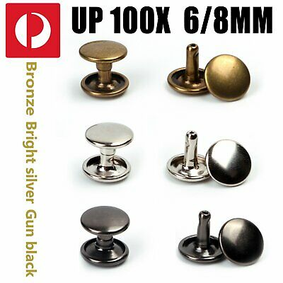 Metal Rapid Rivets Double Cap Round Rivet Studs 8mm, 10mm with Short 6mm Post AU