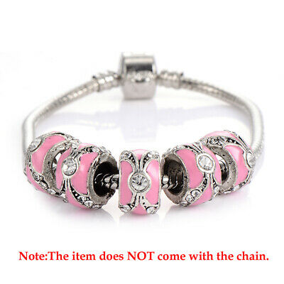 5pcs Enamel Cubic Zirconia Silver Plated European Charm Beads For Chain Bracelet
