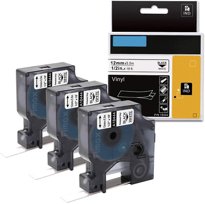 3X Replace DYMO 18444 Industrial 1/2 Permanent Vinyl Label Tape Rhino 4200 Maker