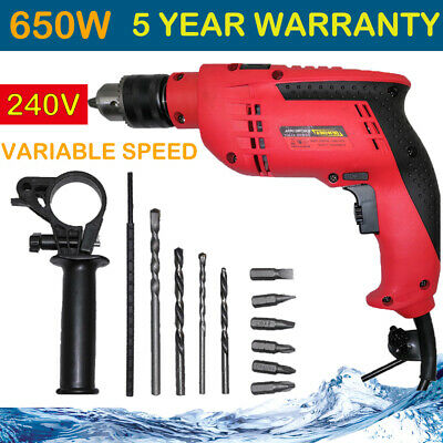 Impact Combi Drill Corded Electric 650W 240V Powerful DIY Hamme Variable Speed