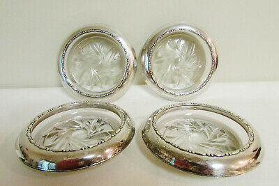 Lot of 4 Amston Sterling Silver & Crystal Coasters