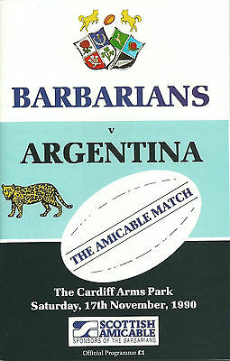 ARGENTINA v BARBARIANS CENTENARY RUGBY UNION PROGRAMME 17 NOVEMBER 1990