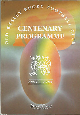 Old Wesley v Barbarians Rugby Union Centenary Programme 12 September 1991