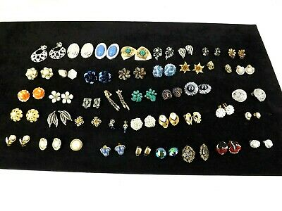 Job Lot Gold Silver tone Metal Clip On Earring Vintage Style Fashion Jewellery