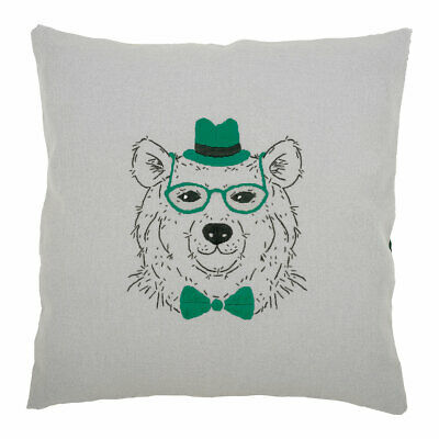 Vervaco Embroidery Kit Cushion | Bear with Green Glasses | 40 x 40cm