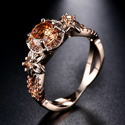 10KT Rose Gold Filled Women Champagne Topaz Wedding Ring Jewelry Gift Size 6-11
