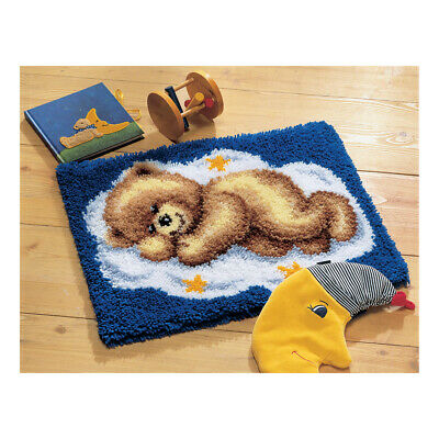 VERVACO|Latch Hook Kit: Rug: Sleeping Teddy on Cloud|PN-0014291