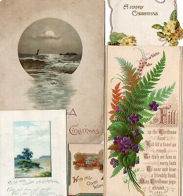 x5 Victorian Christmas Cards, Scenic, Flowers, Craft Lot
