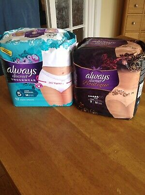 Two Packs - Always Discreet Incontinence  Pants - Boutique 9 & White 12 Medium M