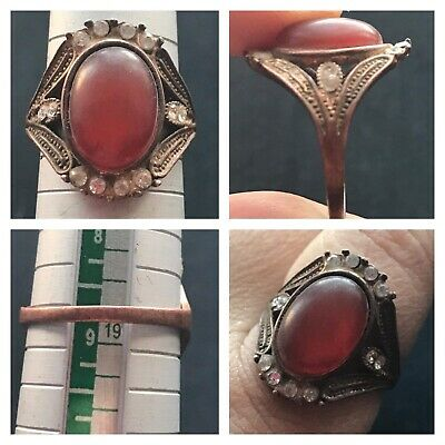 Wonderfull Old Ruby Stone Mix Sliver Very Unique Ring
