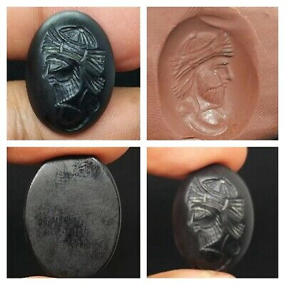 Wonderfull Old Sasanin King Face Intaglio Back Agte Cabchon Seal Bead
