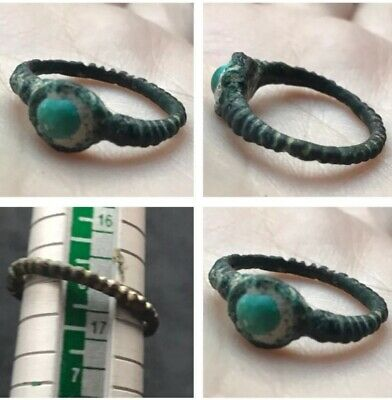 Very Rare Ancient Old Tourquise Stone Degging Bronze Unique Ring