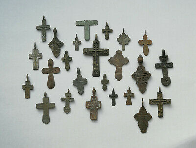 Job Lot of ancient broken and whole bronze rare crosses