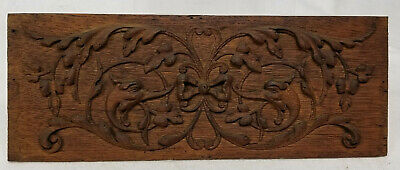 Antique Victorian Neoclassical Gothic Revival Carved Oak Furniture Panel Dolphin