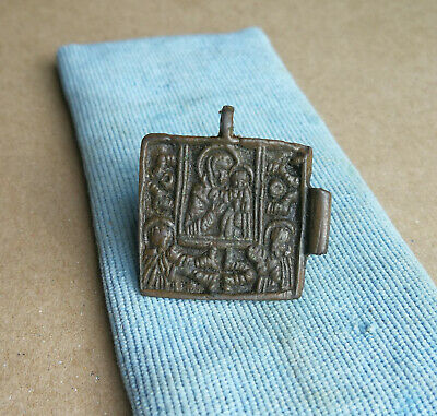 Authentic Medieval Bronze Small Icon With Jesus Christ & Mother Mary And Saints