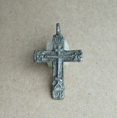 """UNIQUE 17th CENTURY ORTHODOX """"OLD BELIEVERS"""" SILVERED BRONZE CROSS with PSALM"""