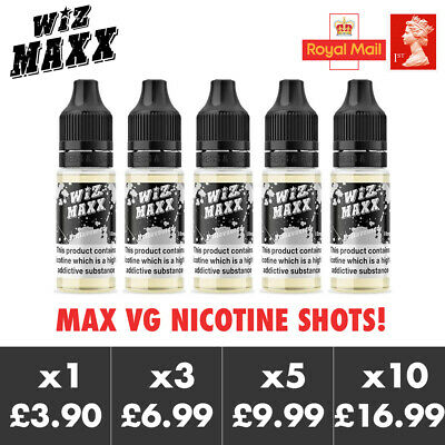 WizMaxx 10ml Nic Shots | Max VG | Nicotine 18mg Base E-Liquid Vape Ecig 100VG
