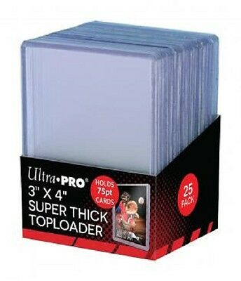 25 Ultra Pro 75pt 3x4 Toploaders toploader Super Thick top loaders Jersey Cards