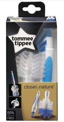 2 x new Tommee Tippee Closer to Nature Bottle & Teat Brush Set (Blue) bpa free