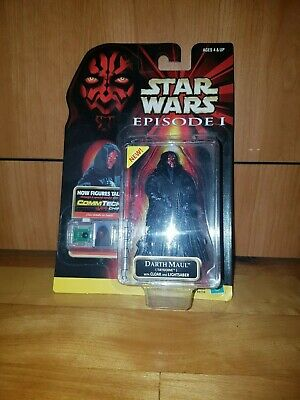 Star Wars Episode 1 Action Figure DARTH MAUL Tatooine Cloak CommTech 1999 NEW