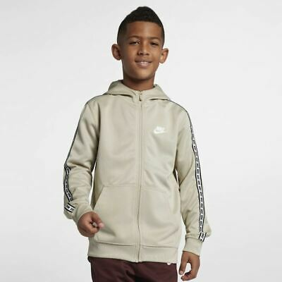Older Kids Boys Nike Sportswear Full-Zip Hoodie Brown/White AV8387 221 Large